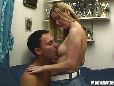 Pretty Blonde Stepmom Couch Fucked By Young Stud
