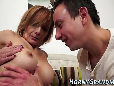 Cougar gets anal creampie