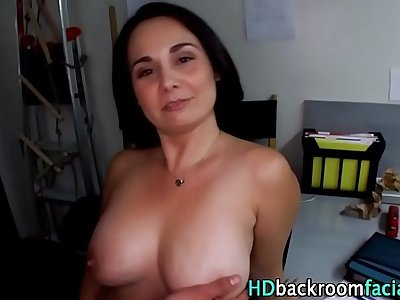 Busty amateur takes dick