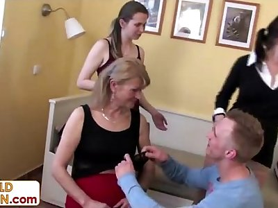 3 kinky grannies on one young cock
