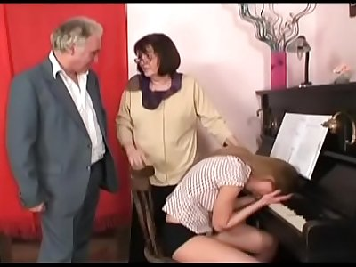 horny grandpa in a wild house orgy