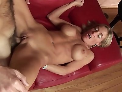 Busty mom fucks step-son to keep him from moving out
